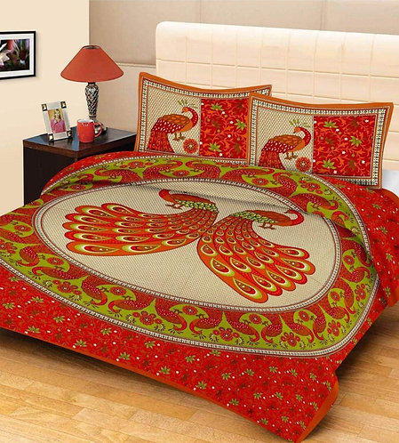 Flirty Orange Colored Printed Cotton Double Bedsheet With 2 Pillow Cover