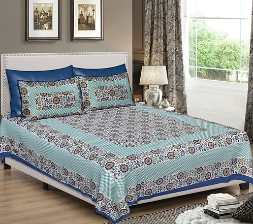 Diva Collection Checks and Floral Print King Size Bed sheet with 2 Pillows