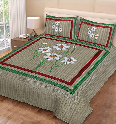 Graceful Light Olive Green Colored Floral Print Cotton Double Bedsheet 2 Pillows