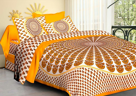 Opulent Yellow Colored Printed Cotton Double Bedsheet with 2 Pillow Cover