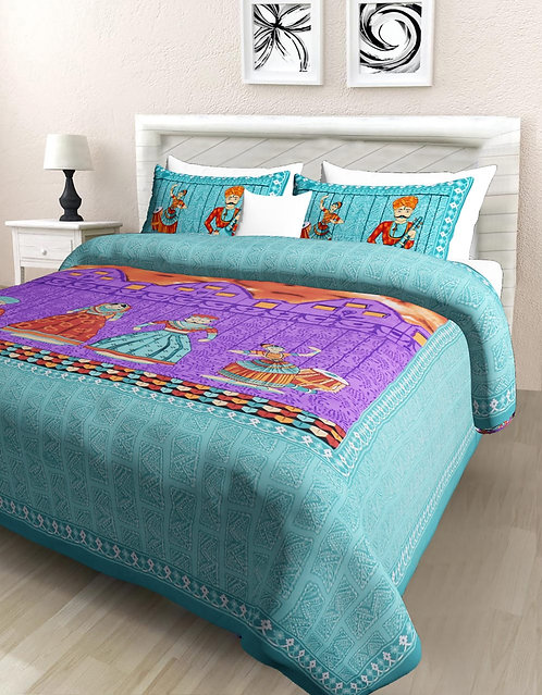 Blissful Green Colored Print Cotton Double Bedsheet with 2 Pillow Cover