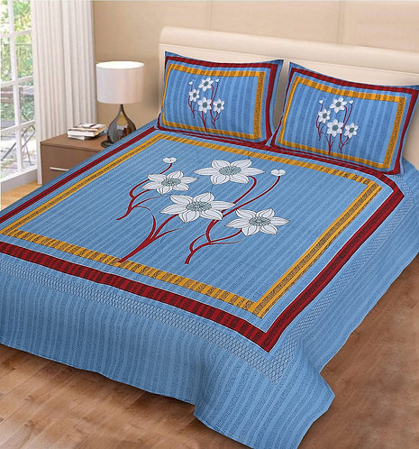 Blooming Blue Colored Floral Print Cotton Double Bedsheet with 2 Pillow Cover