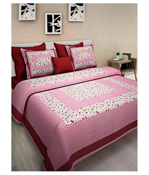 Flaunt Pink Colored Printed Cotton Double Bedsheet with 2 Pillow Cover
