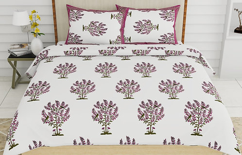 Demanding White Colored Print Cotton King Size Bedsheet with 2 Pillow Cover