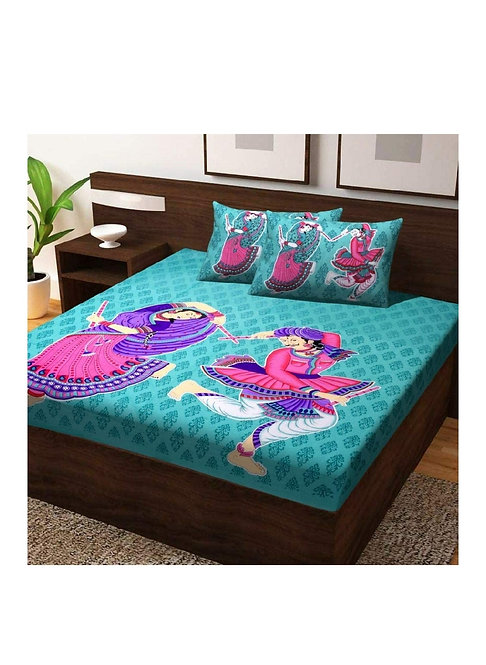 Diva Collection Cotton Double Bedsheet with 2 Pillow Covers