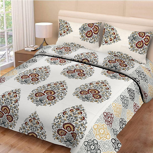 Glowing Off White Colored Print Cotton King Size Bedsheet with 2 Pillow Cover