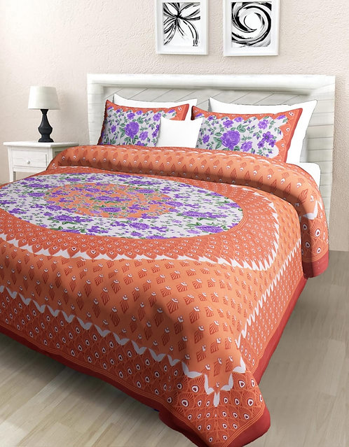 Gorgeous Orange Colored Print Cotton Double Bedsheet with 2 Pillow Cover