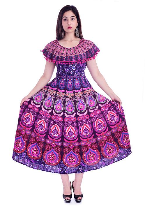 Purple Colored Casual Wear Printed Cotton Kurti
