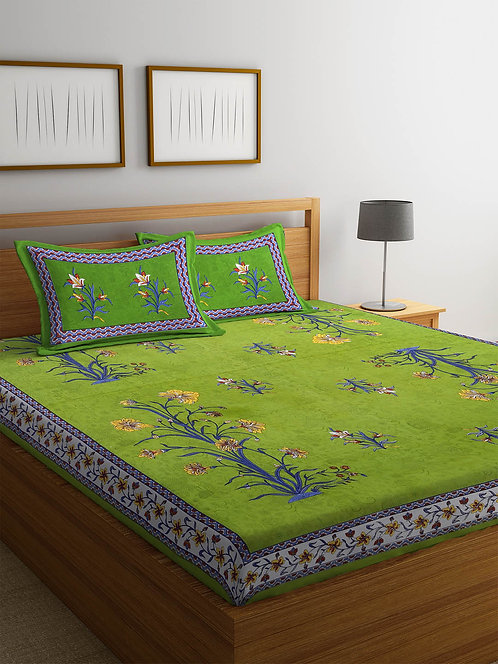 Gleaming Green Colored Printed Cotton King Size Bedsheet with 2 Pillow Cover