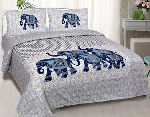 Impressive Cream-Blue Animal Print Cotton King Size Bedsheet with 2 Pillows