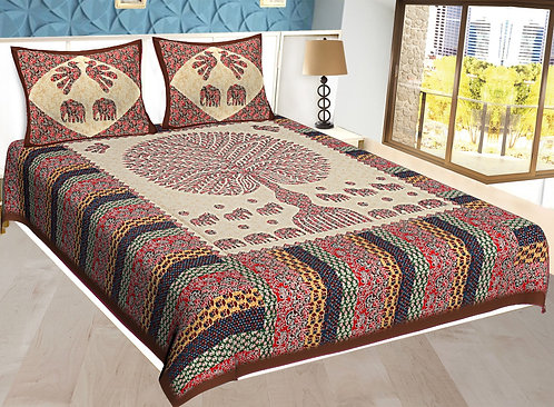- Red Colored Jaipuri Print Cotton Double Bedsheet with 2 Pillow Cover