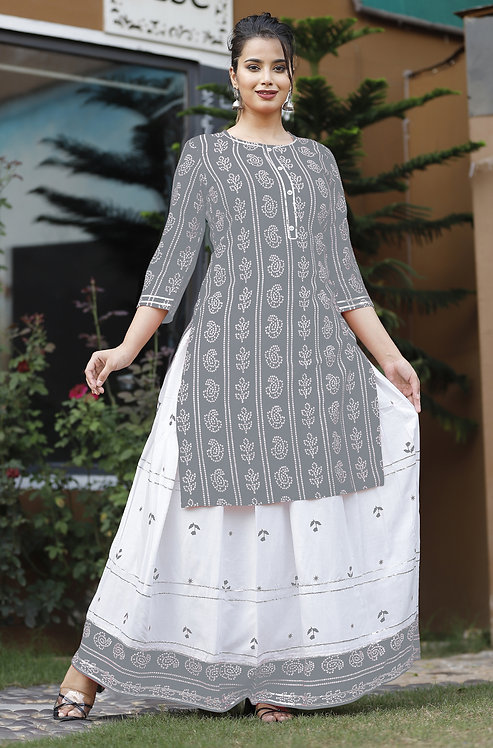 Diva Collection- Designer Grey Color Kurti with Skirt in Rayon Fabric