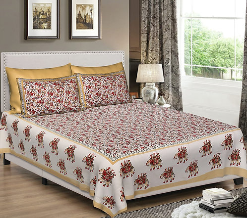 Diva Collection Elephant and Leafs Print King Size Bed sheet with 2 Pillo