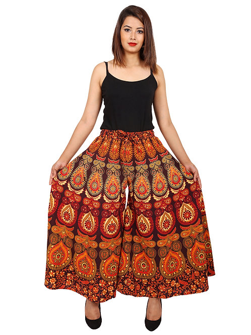 Maroon Colored Casual Wear Printed Cotton Palazzo