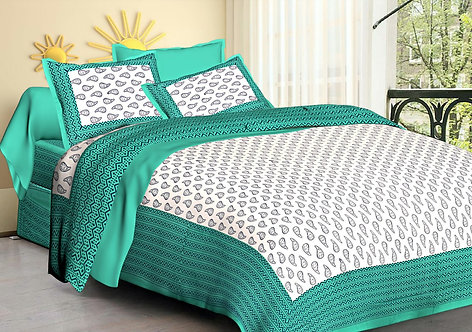 Exotic Green-White Colored Printed Cotton Double Bedsheet with 2 Pillow Cover
