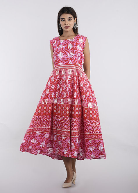 Pink Colored Casual Wear Printed Cotton Kurti