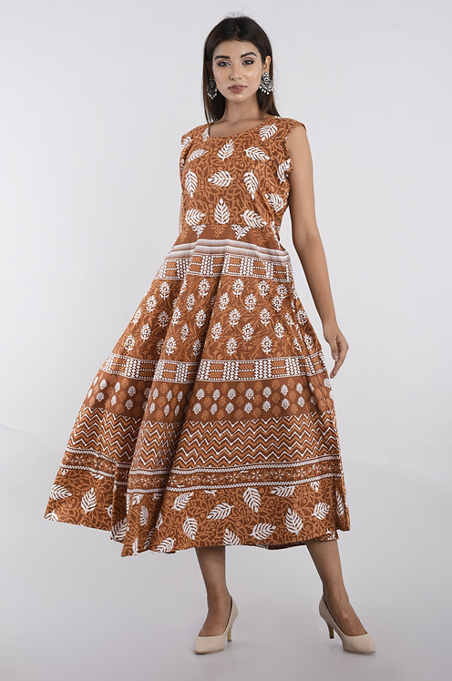 Brown Colored Casual Wear Printed Cotton Kurti