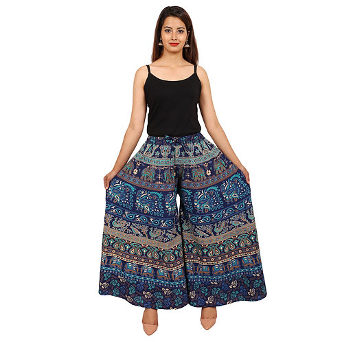 Blue Colored Casual Wear Printed Cotton Palazzo