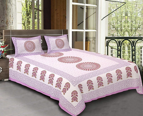 Diva Collection Traditional Print King Size Bed sheet with 2 Pillo