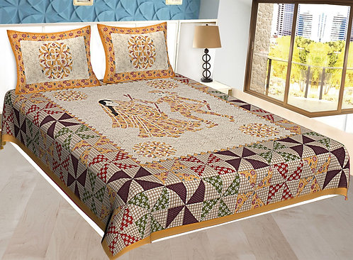Yellow Colored Jaipuri Print Cotton Double Bedsheet with 2 Pillow Cover