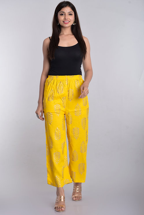 Yellow Colored Casual Wear Printed Rayon Palazzo