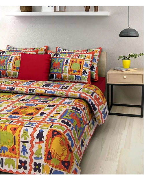 Ideal Orange Colored Printed Cotton Double Bedsheet With 2 Pillow Cover