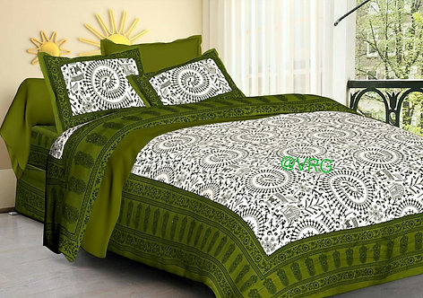 Fantastic Green Colored Printed Cotton Double Bedsheet With 2 Pillow Cover