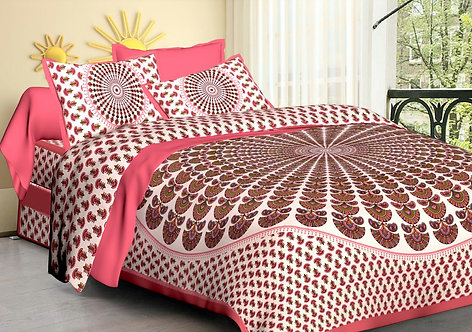Pleasant Pink Colored Printed Cotton Double Bedsheet with 2 Pillow Cover