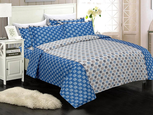 Exceptional Blue Colored Geoemtric Print Cotton King Size Bedsheet with 2 Pillow