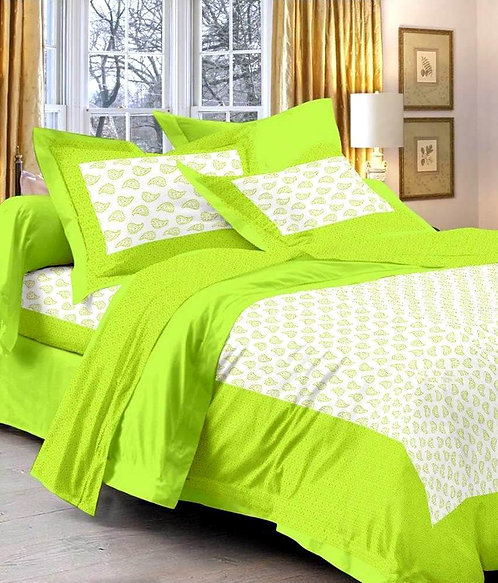 Delightful Yellow Colored Printed Cotton Double Bedsheet With 2 Pillow Cover