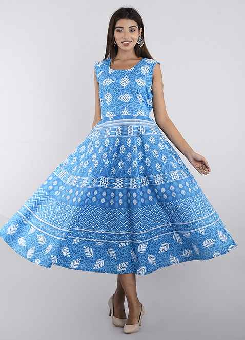 Sky Blue Colored Casual Wear Printed Cotton Kurti