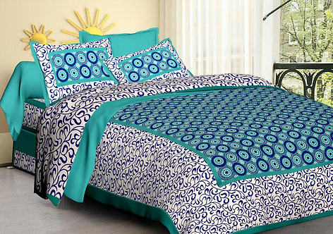 Demanding Green Colored Printed Cotton Double Bedsheet with 2 Pillow Cover
