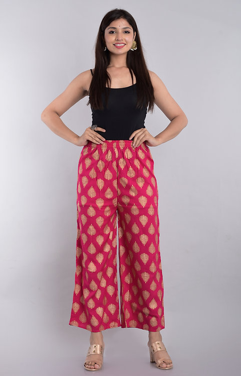 Pink Colored Casual Wear Printed Rayon Palazzo
