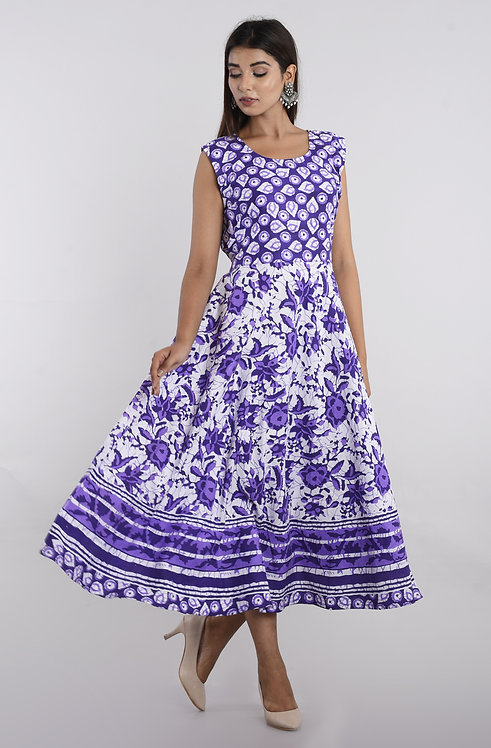 Violet Colored Casual Wear Printed Cotton Kurti