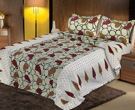 Mesmeric Multi Colored Print Cotton King Size Bedsheet with 2 Pillow Cover