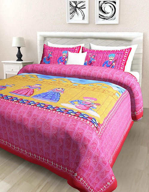 Ideal Pink Colored Print Cotton Double Bedsheet with 2 Pillow Cover