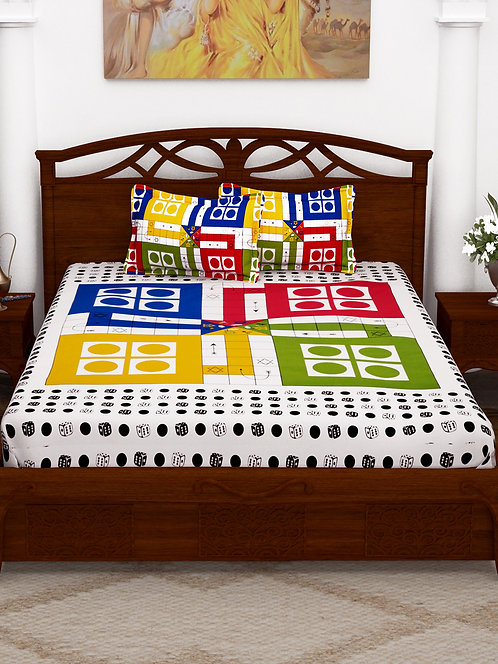 Majesty Multi Colored Printed Cotton Double Bedsheet with 2 Pillow Cover