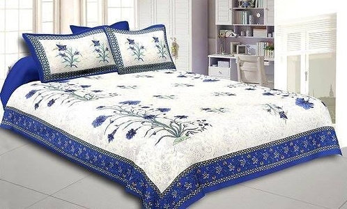 Opulent White Colored Floral Print Cotton King Size Bedsheet with 2 Pillow Cover