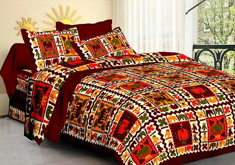 Energetic Multi Colored Printed Cotton Double Bedsheet with 2 Pillow Cover