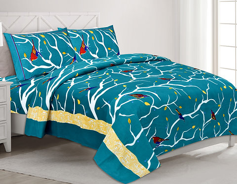 Elegant Green Colored Print Cotton King Size Bedsheet with 2 Pillow Cover