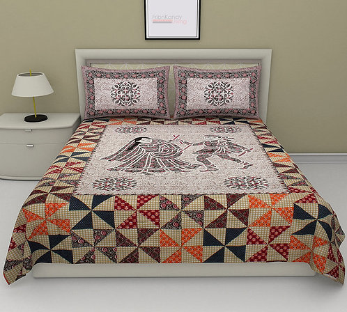 Exclusive Multicolour Colored Printed Cotton Double Bedsheet With 2 Pillow Cover