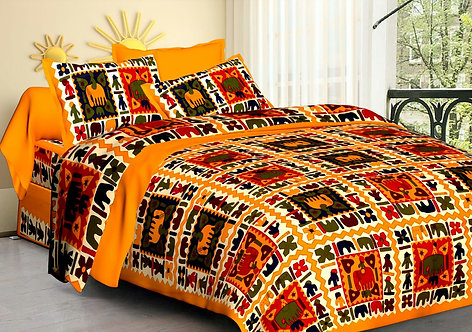 Imposing Yellow Colored Printed Cotton Double Bedsheet With 2 Pillow Cover