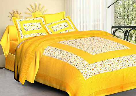 Alluring Yellow Colored Printed Cotton Double Bedsheet with 2 Pillow Cover