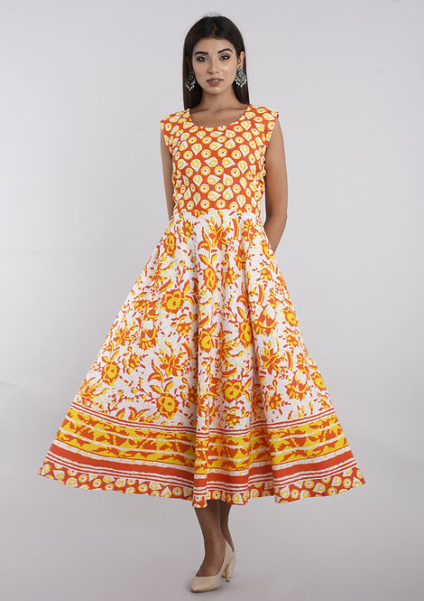 Yellow Colored Casual Wear Printed Cotton Kurti