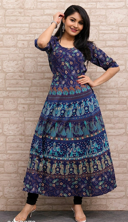 Navy Blue Colored Casual Wear Printed Cotton Kurti