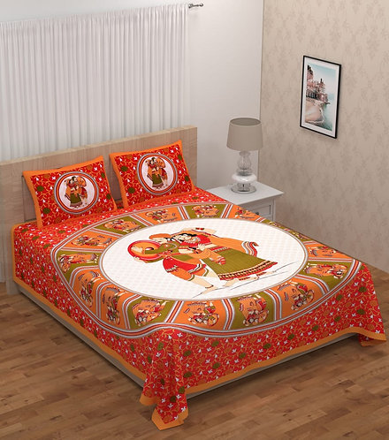 Glorious Orange Colored Print Cotton Double Bedsheet with 2 Pillow Cover