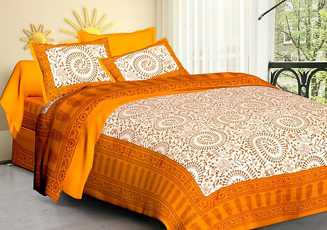 Mesmeric Yellow Colored Printed Cotton Double Bedsheet with 2 Pillow Cover