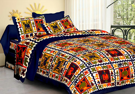 Blissful Blue Colored Printed Cotton Double Bedsheet With 2 Pillow Cover