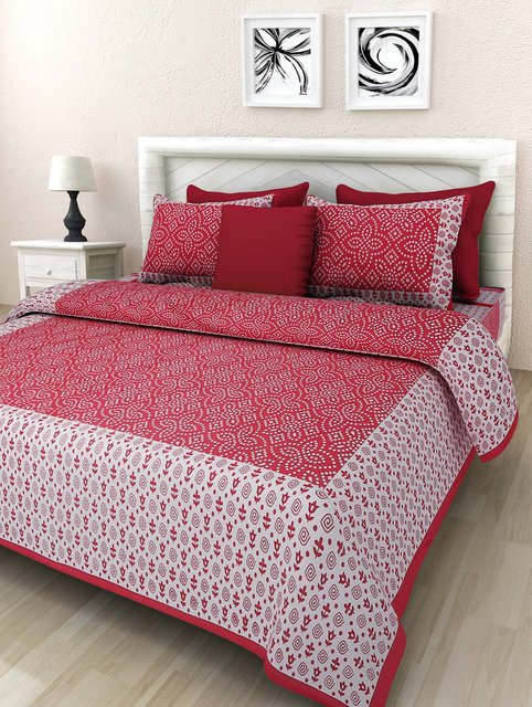 Excellent Red Colored Printed Cotton Double Bedsheet With 2 Pillow Cover
