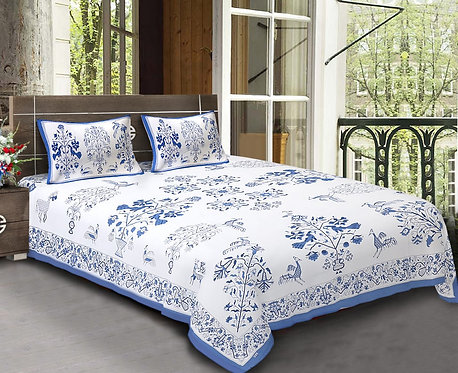 Diva Collection Small Plant with Peacock Print King Size Bed sheet with 2 Pillo
